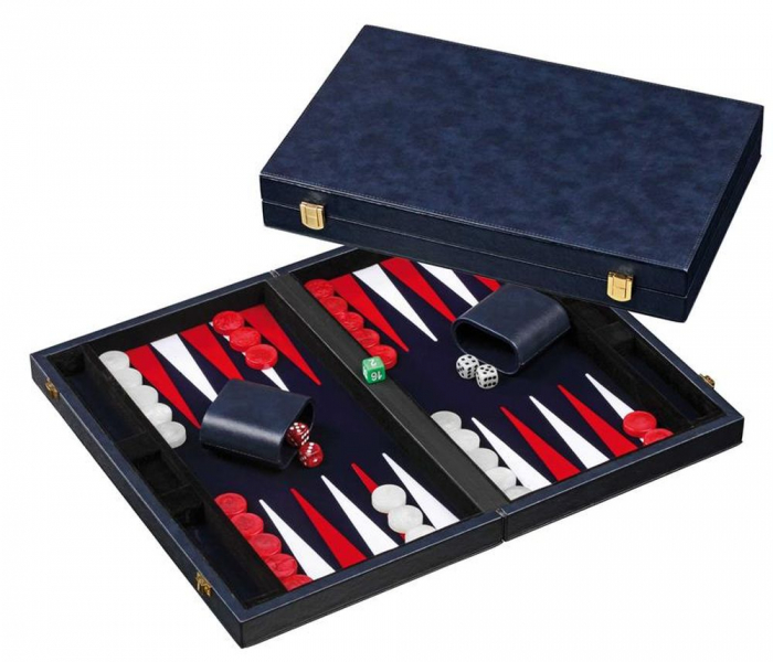 Set joc table/Backgammon in stil Casino - Compact- 38x47 cm - Albastru 1