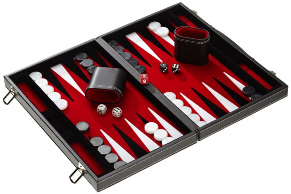 Set joc table Backgammon in stil Casino Mediu - 45x57 cm - Rosu