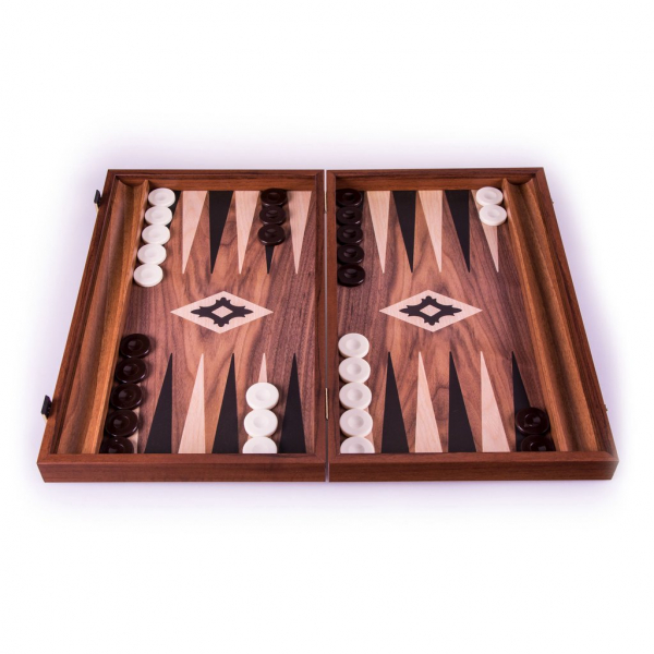 Set joc table backgammon lemn cu aspect de nuc 38 x 44 cm