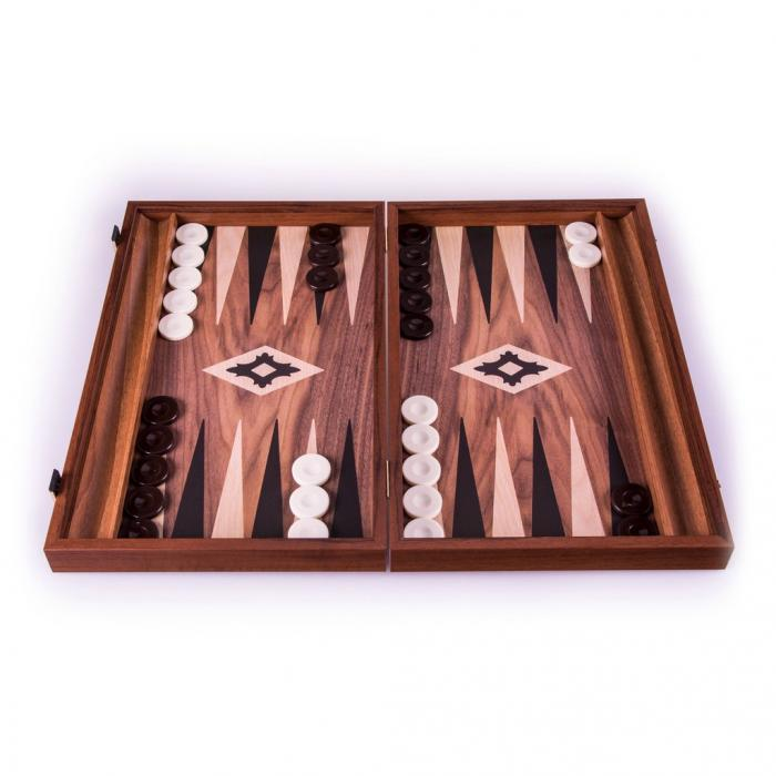 Set joc table backgammon lemn cu aspect de nuc 47 x 60 cm