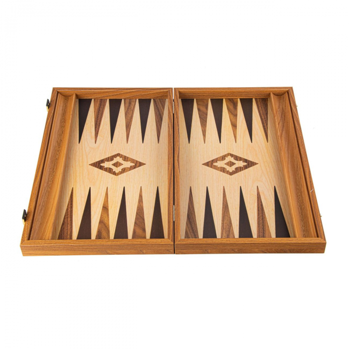 Set joc table backgammon lemn cu aspect de stejar 38x23 cm