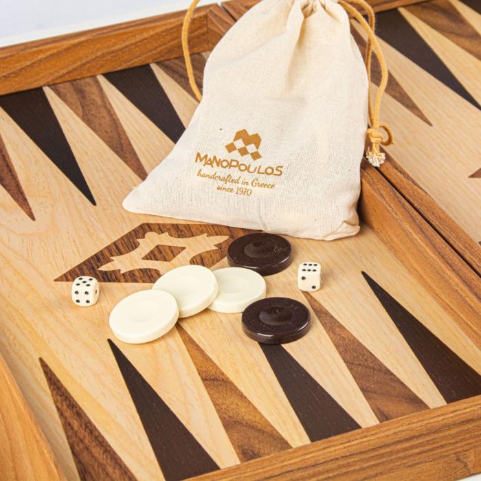 Set joc table/backgammon lemn cu aspect de stejar – 47,5 x 60 cm [1]