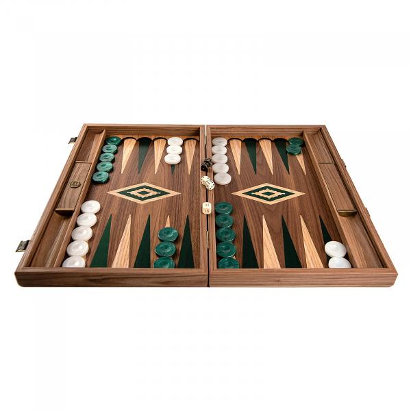 Set joc table / backgammon Walnut cu insertii verzi 0