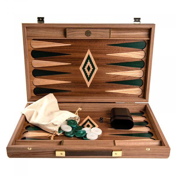 Set joc table / backgammon Walnut cu insertii verzi 3