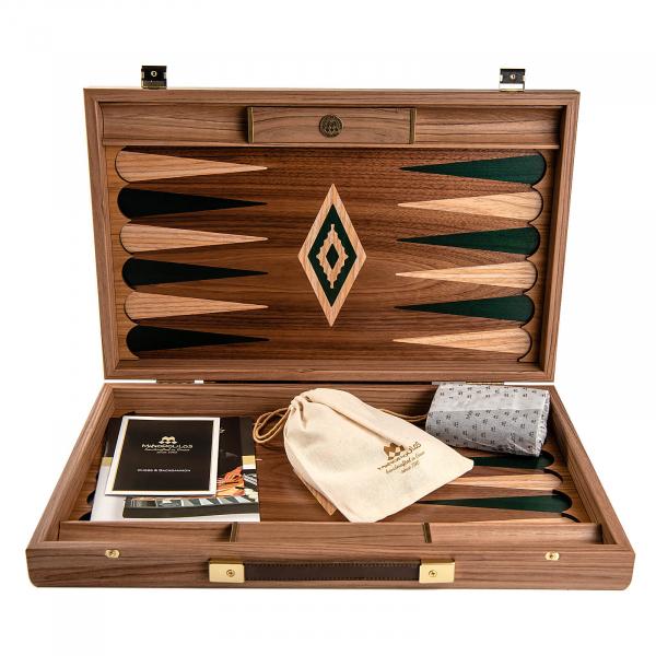 Set joc table / backgammon Walnut cu insertii verzi 2