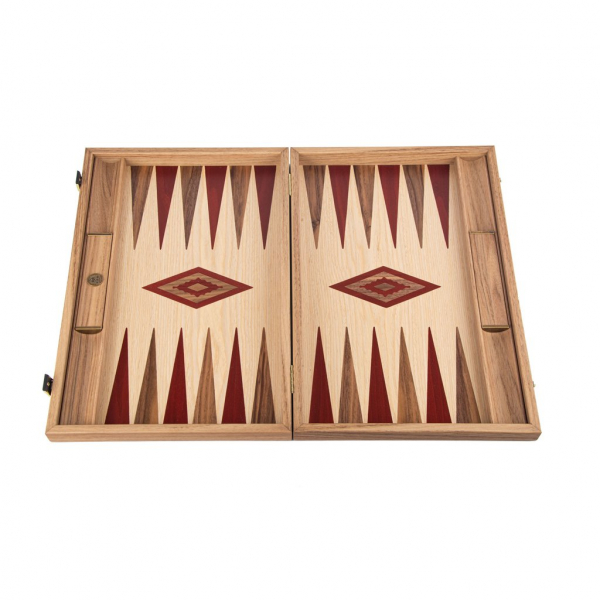 Set joc table / backgammon Walnut si Stejar cu insertii rosii 1