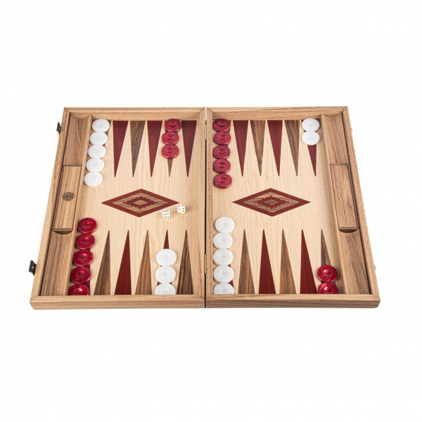 Set joc table / backgammon Walnut si Stejar cu insertii rosii 0