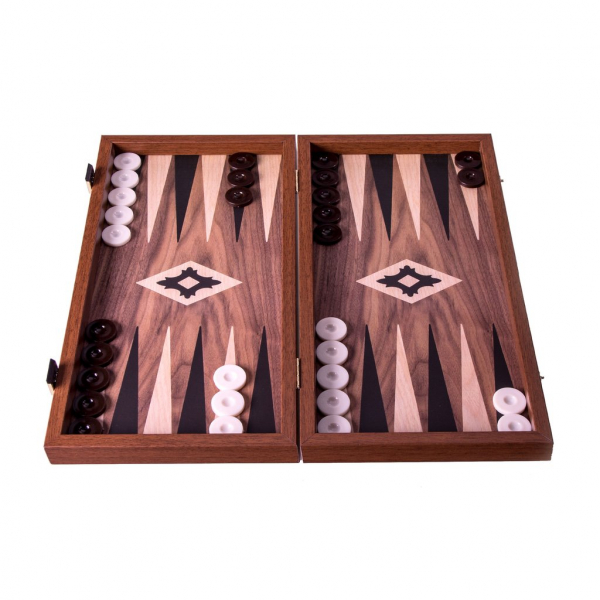 Set joc table backgammon Walnut with Black Oak points 48 x 50 cm