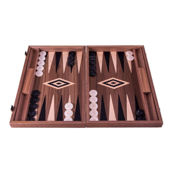 Set joc table backgammon Walnut cu insertii negre