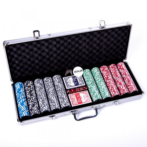 Set poker cu 500 chips-uri ABS 11,5g model ULTIMATE si servieta din aluminiu 2