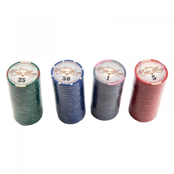 Set poker cu 500 chips-uri ceramice model Valentino si servieta din aluminiu 2