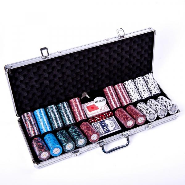 Set poker cu 500 chips-uri clay 14g model MONTECARLO si servieta din aluminiu 2