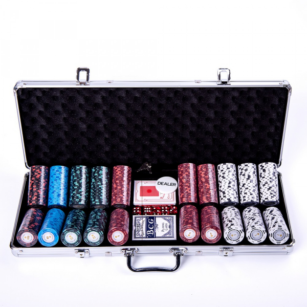 Set poker cu 500 chips-uri clay 14g model MONTECARLO si servieta din aluminiu 1