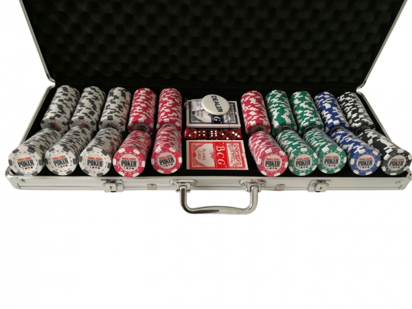Set poker cu 500 chips-uri clay integral model WSOP si servieta din aluminiu 0