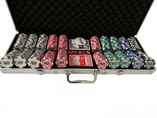 Set poker cu 500 chips-uri clay integral model WSOP si servieta din aluminiu 4