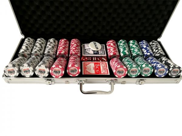 Set poker cu 500 chips-uri clay integral model WSOP si servieta din aluminiu 1