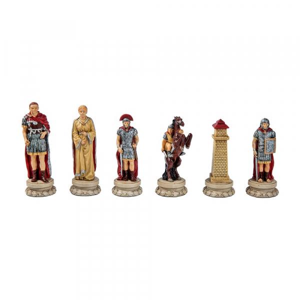 Set sah ceramic Roma Antica cu Tabla de sah Rosewood Deluxe 2
