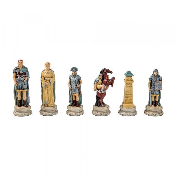 Set sah ceramic Roma Antica cu Tabla de sah Rosewood Deluxe 3