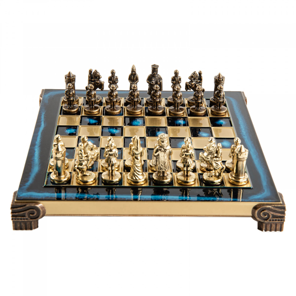 Set sah piese si tabla din metal - Imperiul Bizantin( albastru)