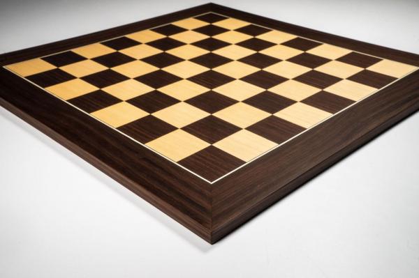 Tabla de sah no.6, lemn de macassar, 55x55 cm, patrat 55 mm, Deluxe
