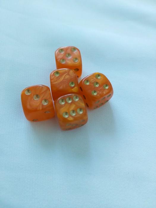 Zaruri perlate portocaliu 16 mm - set 2 bucati