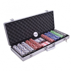 Set poker cu 500 chips-uri model DICE si servieta din aluminiu