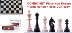 Combo set: Piese plastic sah Staunton New Design + tabla carton sah + ceas sah DGT easy Crimson Cruz0
