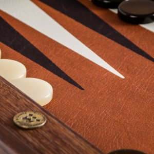 Set joc table backgammon piele model Caramel/Brown 48 x 60 cm5