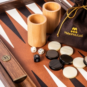 Set joc table backgammon piele model Caramel/Brown 48 x 60 cm2
