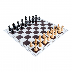 Piese sah lemn Staunton 6 Clasic Black cu tabla pvc alb-maro0