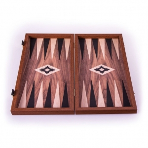 Set joc table/backgammon Walnut with Black &Oak points  48 x 50 cm2