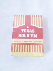 Carti de joc 100 % plastic Texas Holdem,  Jumbo Index Poker Size - Rosu [0]