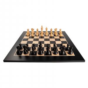 Piese de sah lemn Staunton 5 Galerius in cutie cu tabla de sah Black/Artar Bruxelles2