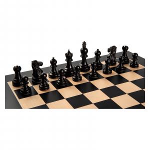 Piese de sah lemn Staunton 5 Galerius in cutie cu tabla de sah Black/Artar Bruxelles0