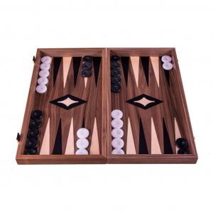 Set joc table/backgammon cu tabla de sah la exterior– lemn de nuc si stejar inlaid – 47,5 x 50 cm0