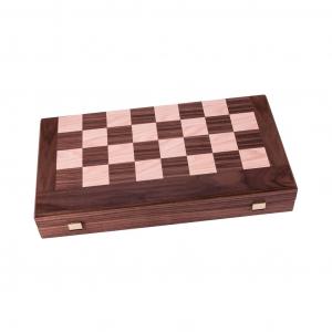 Set joc table/backgammon cu tabla de sah la exterior– lemn de nuc si stejar inlaid – 47,5 x 50 cm1