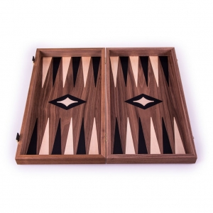 Set joc table/backgammon cu tabla de sah la exterior– lemn de nuc si stejar inlaid – 47,5 x 50 cm2