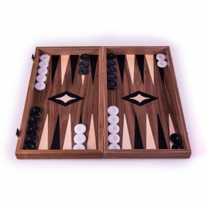 Set joc table/backgammon cu tabla de sah la exterior– lemn de nuc si stejar inlaid – 47,5 x 50 cm3