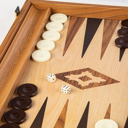 Set joc table/backgammon lemn cu aspect de stejar – 47,5 x 60 cm [2]