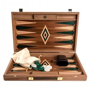 Set joc table / backgammon Walnut cu insertii verzi3
