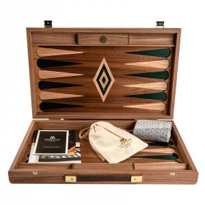 Set joc table / backgammon Walnut cu insertii verzi2