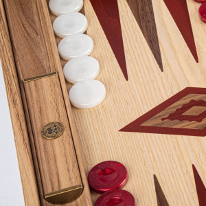 Set joc table / backgammon Walnut si Stejar cu insertii rosii2