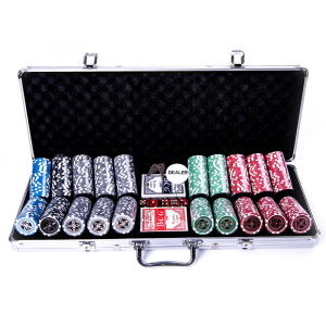 Set poker cu 500 chips-uri ABS 11,5g model ULTIMATE si servieta din aluminiu