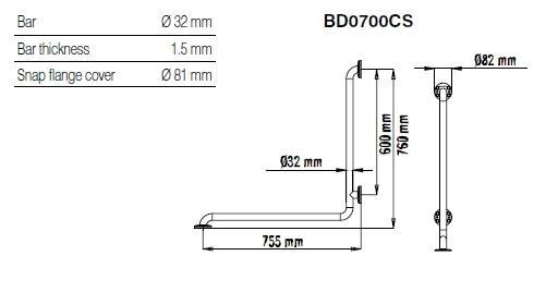 Bara 90º inox fixare 3 puncte, 2 pereti BD0700CS-big
