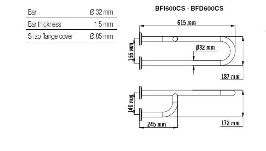 Bara dubla fixa, fixare 3 puncte, inox satinat 62 cm BFI600CS-big