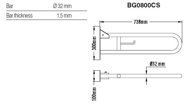 Bara dubla rabatabila, suport hartie igienica, inox 74 cm BG0800CS-big