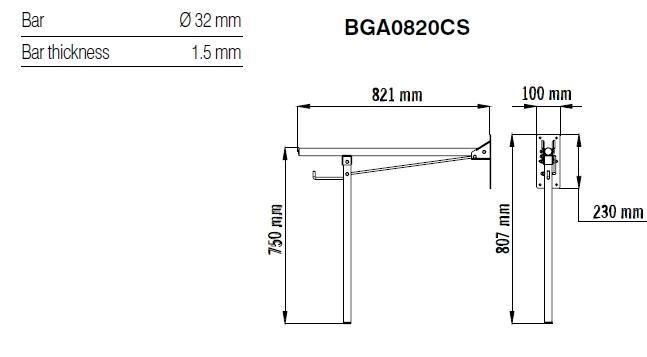 Bara rabatabila 90º otel alb BGA0820-big