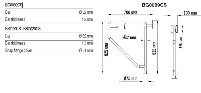 Bara 90º inox, suport hartie igienica, perete-pardoseala BG0089CS-big