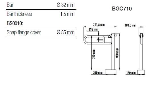 Bara 90º otel alb, suport hartie igienica, perete-pardoseala BGC710-big