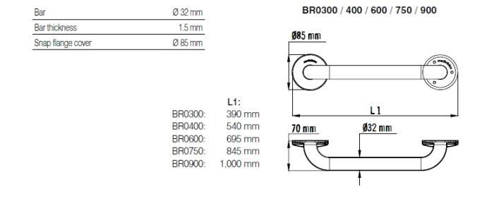 Bara simpla fixa inox satinat 100 cm BR0900CS-big